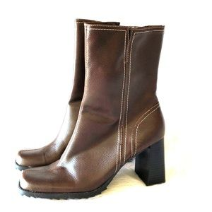 NEW faux leather brown boots